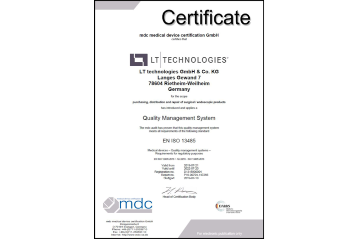 Successfully recertified according to DIN EN ISO 13485:2016